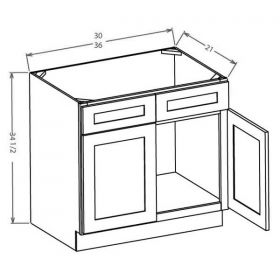 Shaker Gray Vanity Sink Bases-Double Door Double Drawer Front