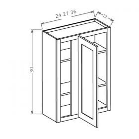"Shaker Espresso 30"" High Wall Blind Cabinets"