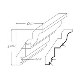 Shaker Gray Inset Crown Moulding-RCM4S