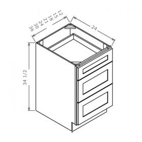 Shaker White Three Drawer Bases