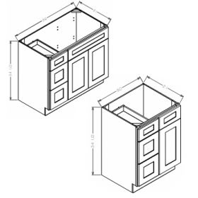 Shaker Gray Vanity Combo Bases-Drawers Left