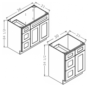 Shaker Gray Vanity Combo Bases-Drawers Right